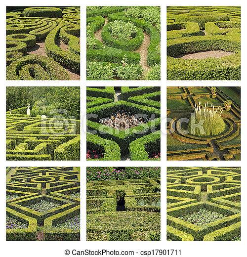 collage with geometric italian gardens - csp17901711