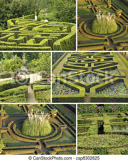 collage with geometric italian gardens, Tuscany, Europe - csp8302625
