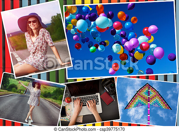 Collage with girl and travel theme - csp39775170