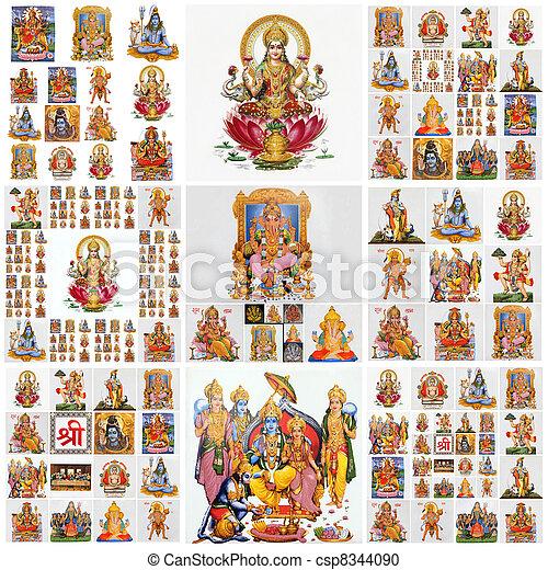 collage with hindu gods as: Lakshmi, Ganesha, Hanuman, Vishnu, Shiva, Parvati, Durga, Buddha, Rama, Krishna - csp8344090