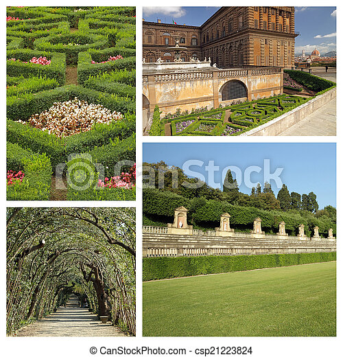 collage with images of florentine monumental Boboli Gardens, Une - csp21223824