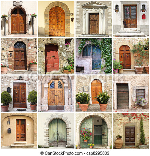 collage with  italian doors - csp8295803