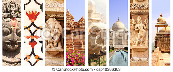 Collage With Landmarks Of India Stock Photo