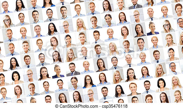 collage with many business people portraits - csp35476118