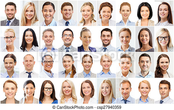 collage with many business people portraits - csp27940359