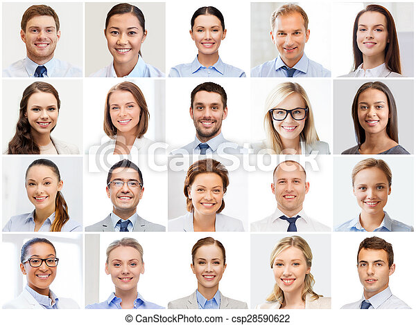 collage with many business people portraits - csp28590622
