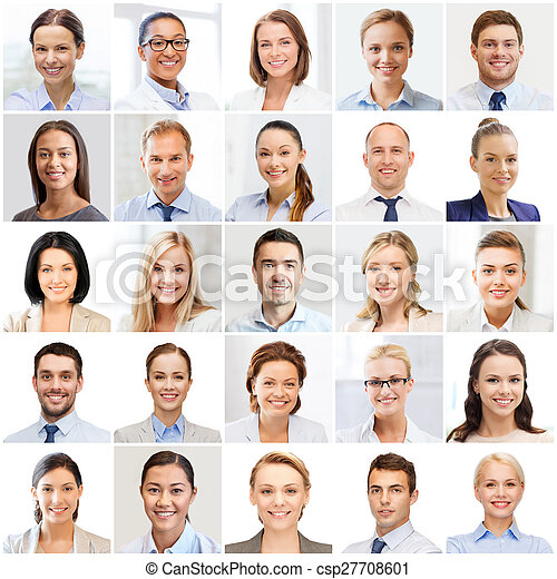 collage with many business people portraits - csp27708601