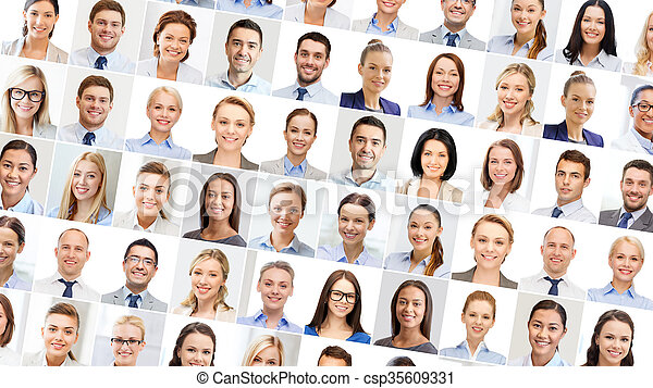 collage with many business people portraits - csp35609331