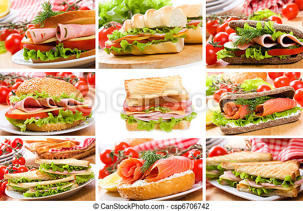 collage with sandwiches - csp6706742
