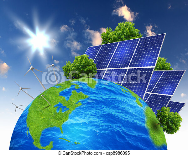 Collage with solar batteries - csp8986095
