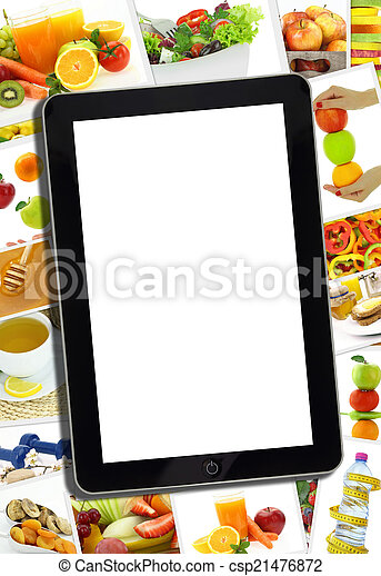 Collage with various healthy food and tablet with blank screen - csp21476872