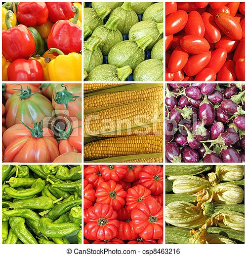 collage with whole different vegetables on farmer market, Italy - csp8463216