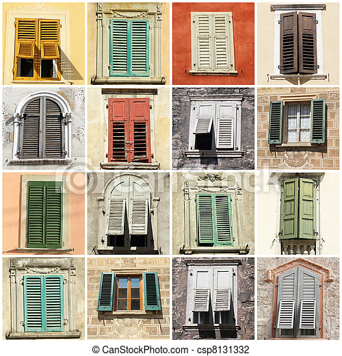 collage with windows and shutters - csp8131332