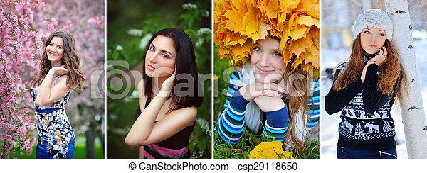 collage women seasons - csp29118650