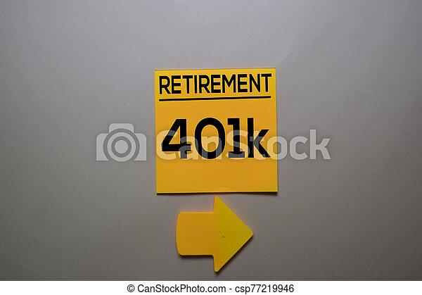 collant, desk., 401k, isolé, écrire, bureau, note, retraite - csp77219946