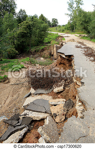 Collapse of the paved road in the forest - csp17300620