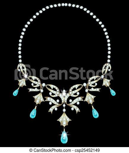 Grficos vectoriales EPS de collar  Gold collar con diamantes