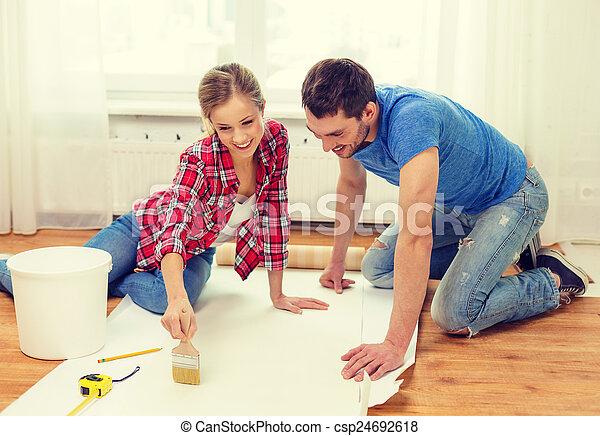 colle, couple, papier peint, enduire, sourire - csp24692618