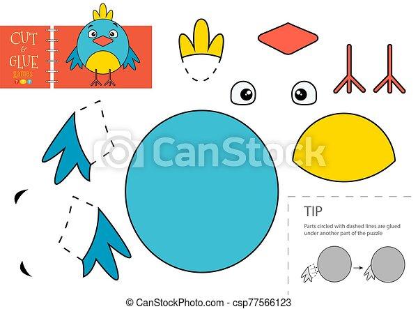 colle, oiseau, vecteur, papier, caractère, activité, pédagogique, toy., coupure, mignon - csp77566123