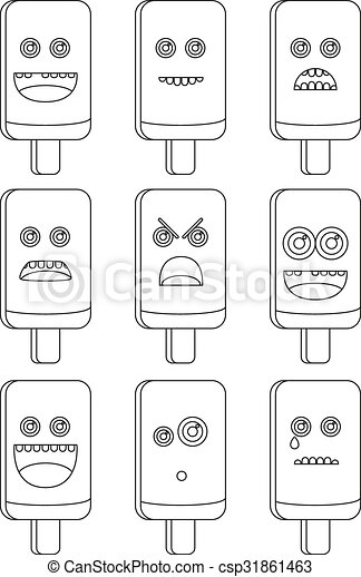 Collectiion, 9, färbung, -, buch. Emoticons, färbung, -,... Clipart ...