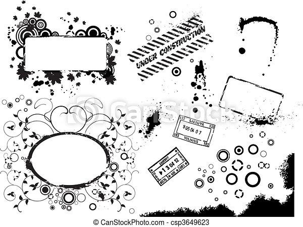 Collectio of vector grunge elements - csp3649623