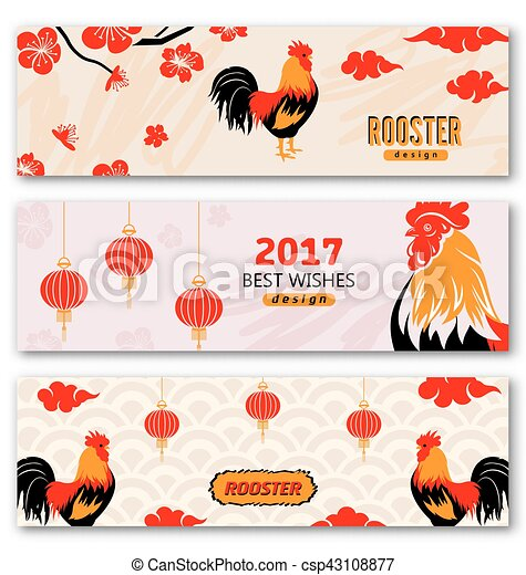 collection banners with chinese new year roosters csp43108877