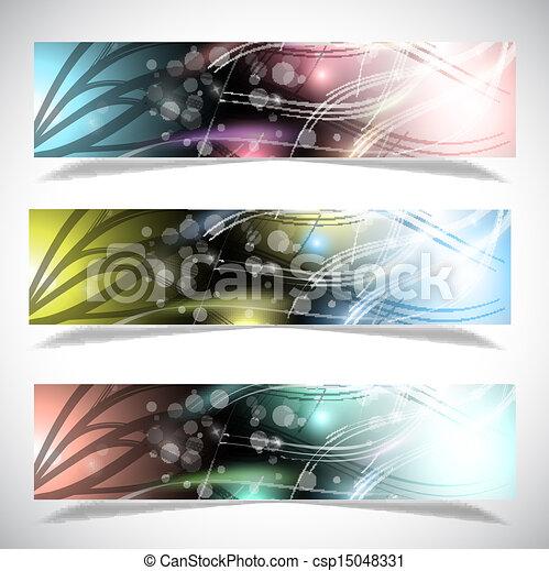 collection., bannières, clair, résumé - csp15048331