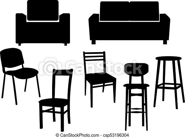 Collection Black Silhouette Of Chairs Icon Interior Furniture Old Style  Armchair. Vector Flat