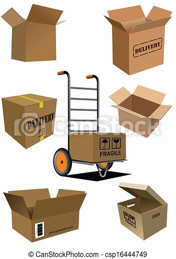 La colección de cajas de cartón. Vector enfermo - csp16444749