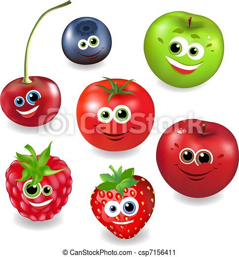 Collection Cartoon Fruit And Berries - csp7156411