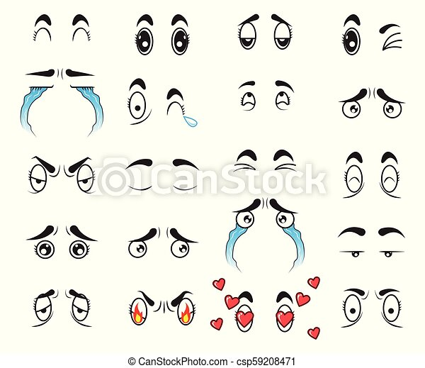 Collection Cute Cartoon Eyes Set Vector Cute Cartoon Eyes Set