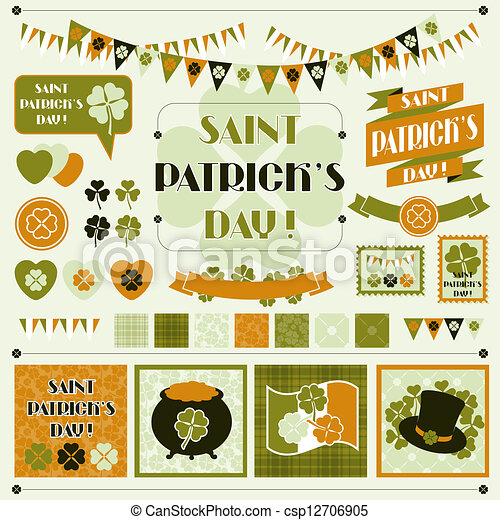 Collection design elements of Saint Patrick's Day. - csp12706905