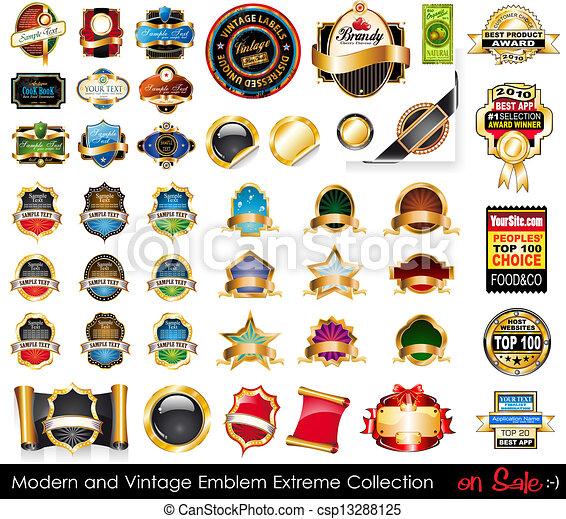 collection., emblematy, ekstremum, nowoczesny, rocznik wina - csp13288125