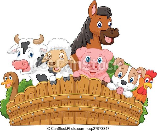 Collection farm animals cartoon - csp27973347