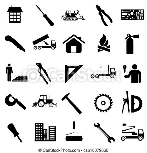 Collection Flat Icons Construction Symbols Vector Illustration