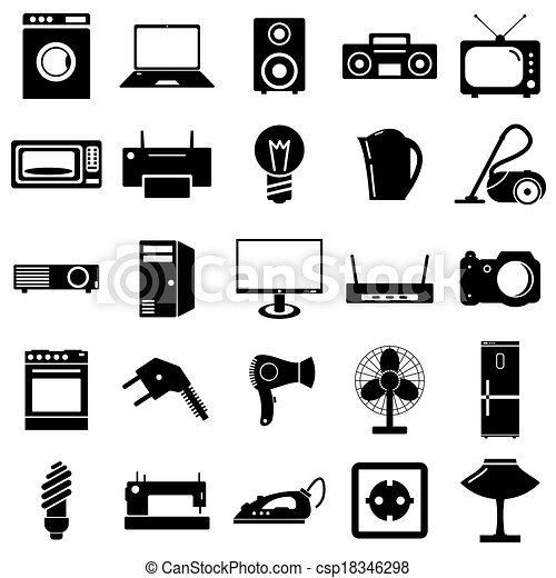 Collection flat icons. Electrical devices symbols. Vector illustration. - csp18346298