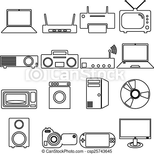 Collection flat icons with long shadow. Electrical devices symbo - csp25743645