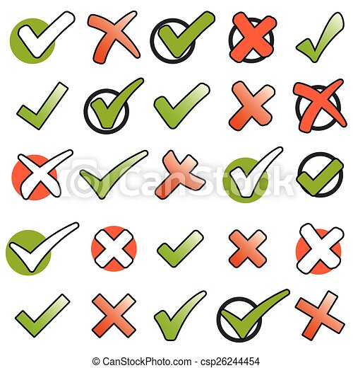 collection green checkmarks and red crosses - csp26244454