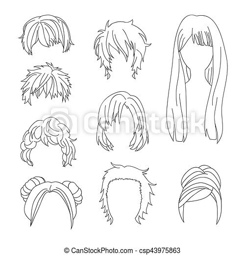 Collection Hairstyle for Man and Woman Hair Drawing Set - csp43975863
