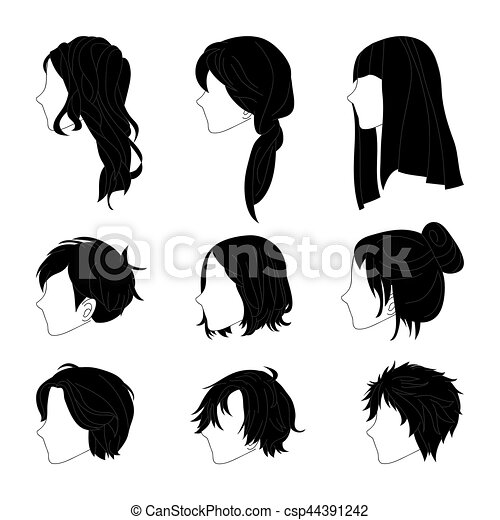 Collection Hairstyle Side View for Man and Woman Hair Drawing Set - csp44391242