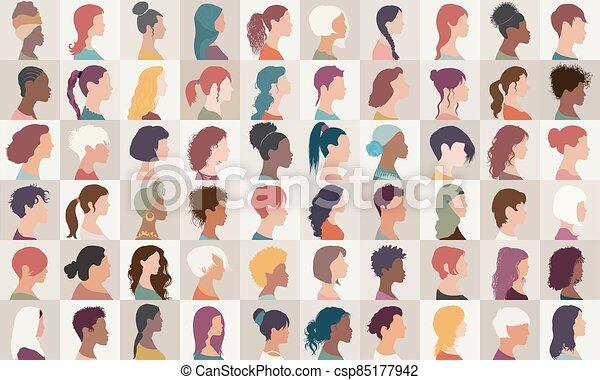 collection, headshot.different, filles, américain, caucasien, diversité, ensemble, femmes, -, arabe, femme, portrait, nationalités, multiethnic, isolated.asian, groupe, avatar, people.profile, africaine - csp85177942