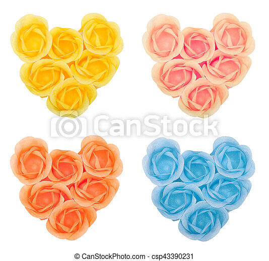 Collection hearts from flower soap - csp43390231