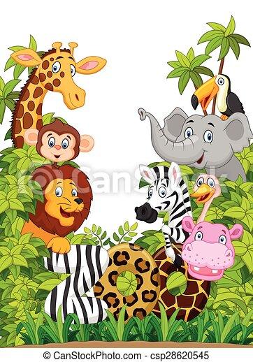 collection, heureux, dessin animé, animal, zoo - csp28620545