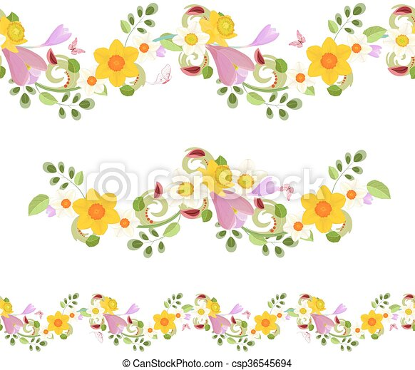 Collection horizontal seamless borders with spring flowers collection horizontal seamless borders with spring flowers csp36545694 mightylinksfo