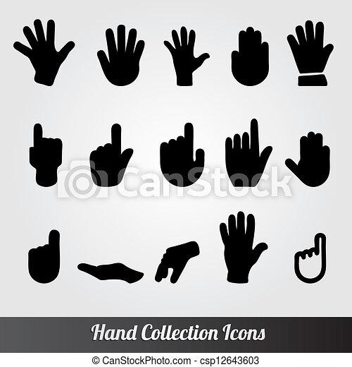 collection, icône, vecteur, main humaine - csp12643603