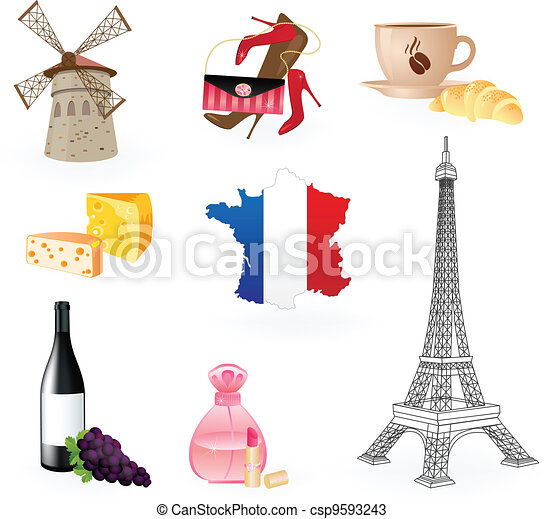 collection icons of symbols of france vectors search clip art rh canstockphoto com French Flower Symbol France Flag Symbol