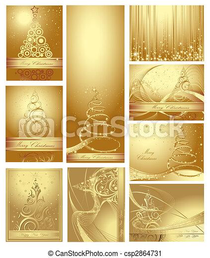collection, joyeux, année, nouveau, noël, heureux - csp2864731