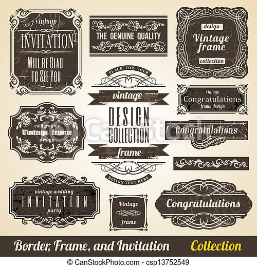 collection., keret, calligraphic, meghívás, sarok, elem, határ - csp13752549