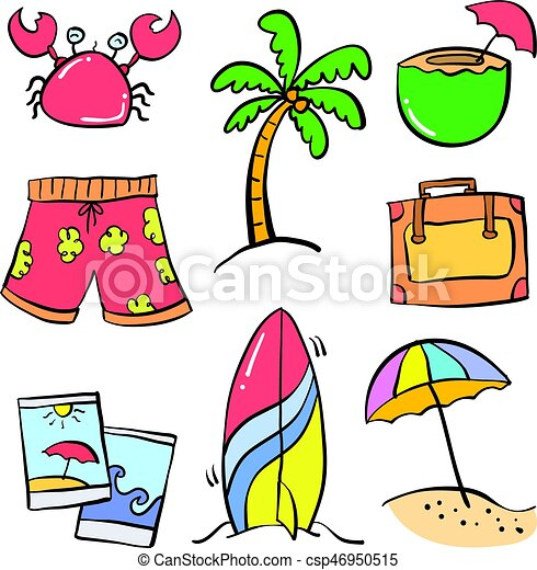 collection object holiday summer doodles vector illustration vector rh canstockphoto com summer holiday clipart black and white