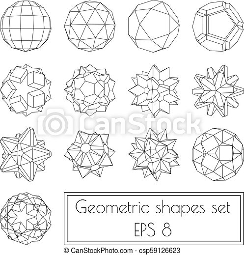 Collection of 13 3d geometric shapes
